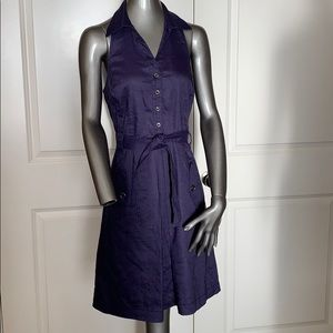 Anne Klein Linen Blend Indigo Halter Dress